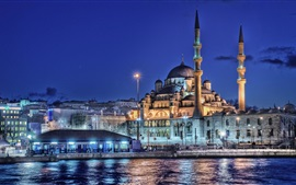 Preview wallpaper Istanbul, Turkey, New mosque, minaret, night, lights