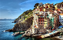 Preview wallpaper Italy, Cinque Terre, beautiful village, sea, houses, rocks