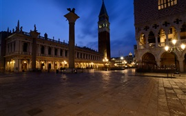 Preview wallpaper Italy, Venice, Piazzetta, Doge's Palace, night, lights
