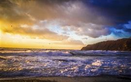 Япония, море, волны, закат
