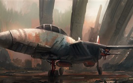 Preview wallpaper Junkyard, jet, art drawing