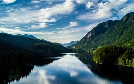 Lake, mountains, trees, water reflection, summer