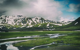 Landmannalaugar, Iceland, mountains, snow, grass, water