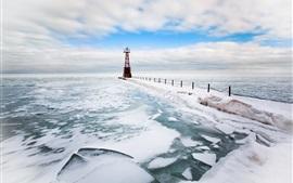 Lighthouse, sea, snow, winter