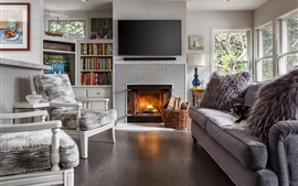 Preview wallpaper Living room, fireplace, sofa, chair, books, television