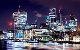 Aperçu fond d'écran Londres, Royaume-Uni, belle nuit, ville, gratte-ciel, lumières