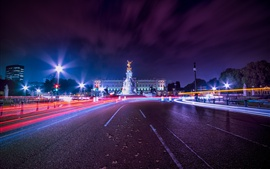 Preview wallpaper London, city, night, road, light lines, England