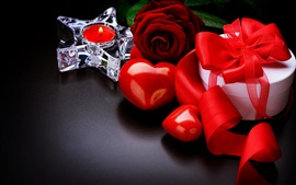 Love hearts, candle, gift