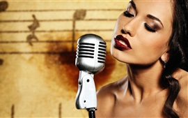 Preview wallpaper Makeup girl, lips, microphone