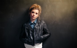 Preview wallpaper Model girl, leather jacket, wall
