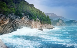 Preview wallpaper Montenegro, sea, mountains, trees, rocks, waves