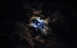 Moon, clouds, sky, night