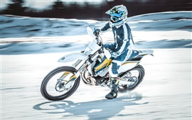 Preview wallpaper Motorcyclist, speed, motorcycle race, snow