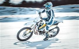 Motociclista, velocidade, corrida moto, neve