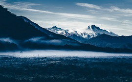 Preview wallpaper Mountains, snow, dawn, fog