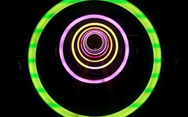 Preview wallpaper Neon lights, circles, black background