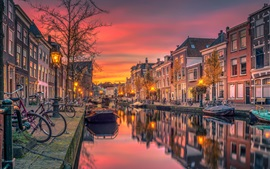 Preview wallpaper Netherlands, canal, river, boats, city