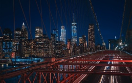 New York, USA, Brooklyn, bridge, night, lights