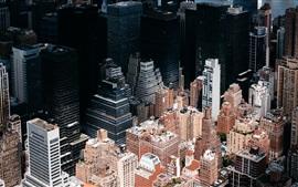 Nova Iorque, EUA, arranha-céus, telhado, vista de cima