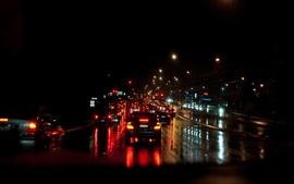 Ночь, город, дорога, движение, деревья, огни