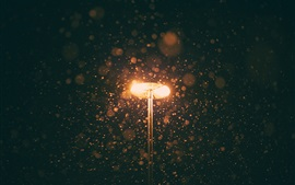Noche, lámpara, nevando