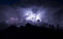 Night, storm, clouds, sky, lightning