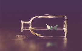 Preview wallpaper Paper ship, glass bottle, water, creative