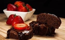 Pieces of chocolate cake, strawberry, dessert