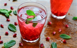 Preview wallpaper Pomegranate drinks, mint, lemonade, ice cubes