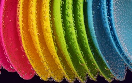Preview wallpaper Rainbow colored plastic spoons, bubble, water