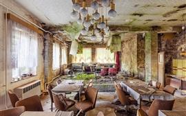 Restaurante, mesa, sillas, ruinas