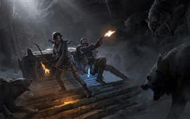 Preview wallpaper Rise of the Tomb Raider, Lara Croft, bow, wolf, fire