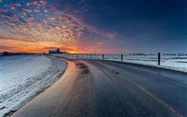 Carretera, nieve, puesta de sol, nubes, cielo rojo, invierno