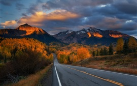 Preview wallpaper Road, trees, mountains, autumn, clouds, dusk