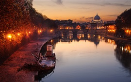 Preview wallpaper Rome, Vatican, river, mirror, bridge, city, night, lights