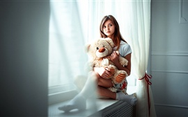 Preview wallpaper Sadness girl and teddy bear, windowsill