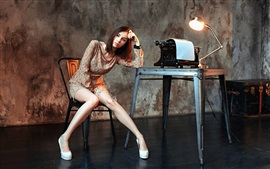 Preview wallpaper Sadness girl, legs, room, lamp, typewriter