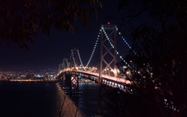 Preview wallpaper San-Francisco, bridge, bay, night, lights, USA