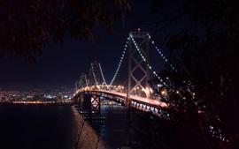San-Francisco, puente, bahía, noche, luces, Estados Unidos