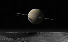 Preview wallpaper Saturn, crater, satellite, stars, space