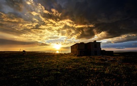 Preview wallpaper Sea, grass, sheep, clouds, sunrise, house