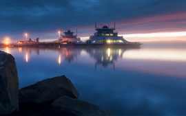 Preview wallpaper Sea, night, ship, dock, lights