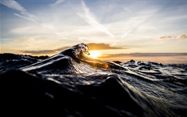 Preview wallpaper Sea wave, macro photography, sun