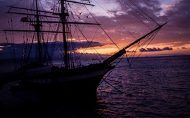 Preview wallpaper Ship, sea, clouds, sunset, lights