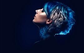 Короткие волосы девушка, мода прическа, синий