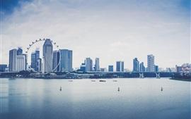 Cingapura, cidade, arranha-céus, rio, ponte, barcos, roda gigante