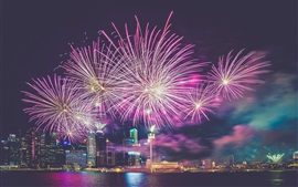 Singapore, metropolis, skyscrapers, night, fireworks, river, lights