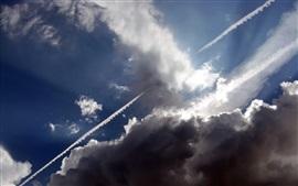 Aperçu fond d'écran Ciel, nuages, rayons solaires