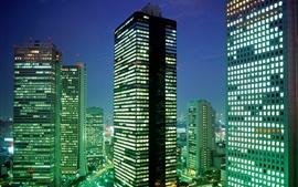 Rascacielos, ciudad, luces, anochecer, Tokio, Japón