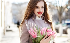 Preview wallpaper Smile girl and pink tulips
